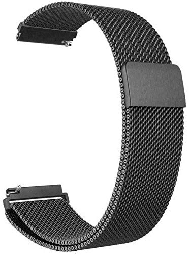 General Watch Band Stainless Steel Magnetic Absorption Loop Metal Mesh Watch Band Quick Release Strap for Vivoactive 3 (Black, 20mm)