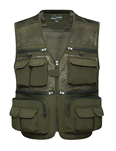 Lentta Mens Summer Outdoor Work Safari Fishing Travel Photo Cargo Vest Multi Pockets(Mesh ArmyGreen-L)