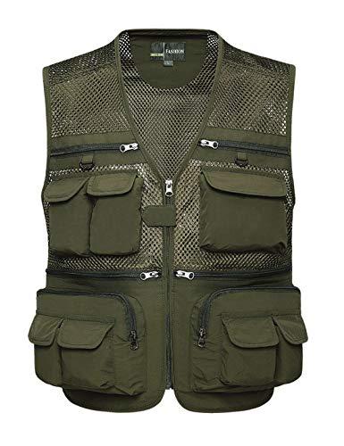 Lentta Mens Summer Outdoor Work Safari Fishing Travel Photo Cargo Vest Multi Pockets(Mesh ArmyGreen-XXL)