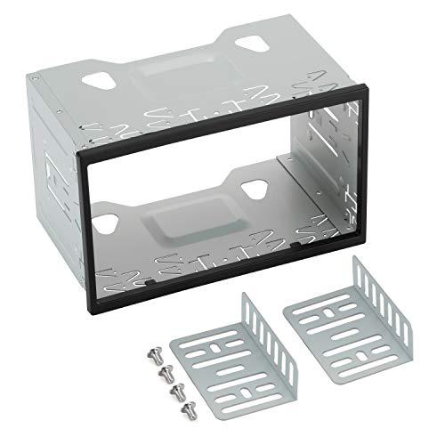 Marco de metal para radio de coche, 2DIN LSLYA Kit de Montaje Universal de Para Radio estéreo de Coche y DVD, 19.8 x 12.8 x 12.4 cm