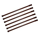 Window Tension Rods 28 to 48 Inches 6 Pack Tension Curtain Rod,Spring Curtain Rods Window Rods Kitchen Bathroom Thin Tension Rod,Wood Grain