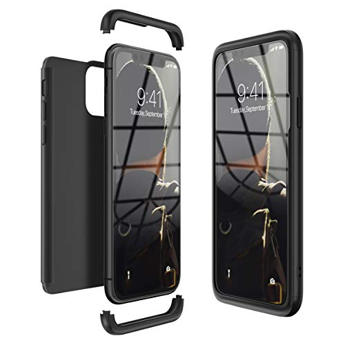 CE-Link Kompatibel mit iPhone 11 Pro 5.8 Hülle Hardcase 3 in 1 Handyhülle 360 Grad Schutz Ultra Dünn Slim Hard Full Body Case Cover Backcover Schutzhülle Bumper - Schwarz