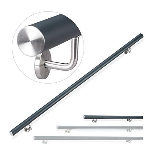 Relaxdays Handlauf Aluminium, rund, Treppengeländer innen & außen, matt, 100 cm, Ø 42mm, mit Wandhalterung, anthrazit