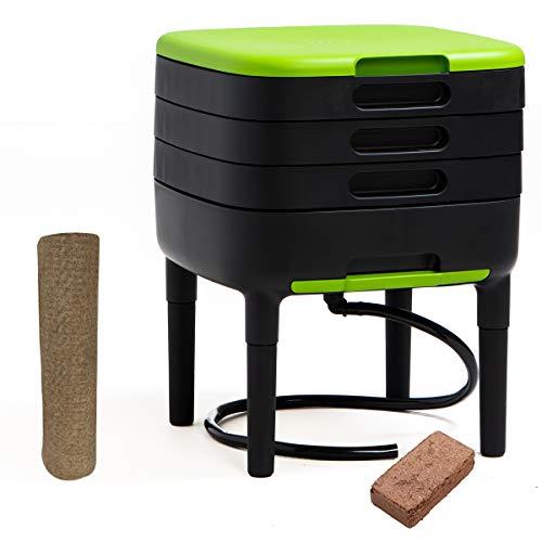 WormBox TinyWorm Design & Compact I 3-Etagen-Wurmkomposter I Komplett-Set I Schublade I Kunststofffüße