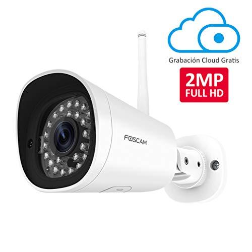 Foscam Cámara IP WiFi, Seguridad, Grabación en la Nube, AI Detección Humana, Visión Nocturna, Compatible con Alexa, (P2P, 1080P HD, ONVIF) (FI9902P (1080P WiFi))