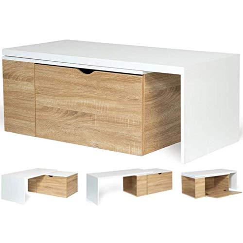 IDMarket - Table Basse rotative Bois et Blanc 360° Lizzi Extensible avec Coffre