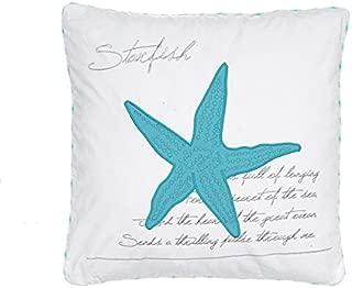Levtex Biscayne Starfish Pillow White, Aqua