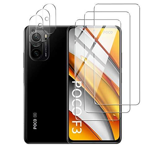 Effcotuo 3 Stücke Panzerglas für Xiaomi Poco F3 / Redmi K40 Schutzfolie + 3 Stücke Kamera Displayschutzfolie aus Gehärtetem Glas [9-H-Härte] [Kristallklarheit] [Kratzfest] mit Poco F3