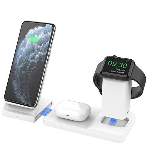 Hoidokly Caricatore Wireless 3 in 1 Supporto di Ricarica Rapida Wireless Caricabatterie Station 7.5W per iPhone 12 PRO Max/12/SE 2020/11 PRO/XS Max/XR/X/8 Plus, Apple Watch 6/5/4/3/2 e Airpods PRO