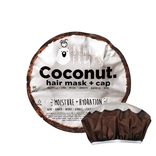 Bear Fruits, Coco, Nutre & Hidrata, Mascarilla Capilar + Gorro De Ducha, 20 ml