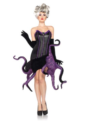 Leg Avenue Disney 2 Piece Ursula Velvet Dress with Tentacle Skirt and Clear Straps