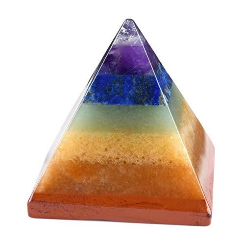 CrystalTears - Juego de pirámide de 7 piedras preciosas de chakras con piedra pulida y roca áspera, para terapia de energía, Reiki, curación o como piedra decorativa