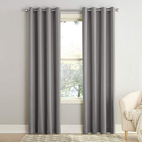 "Sun Zero Barrow Energy Efficient Grommet Curtain Panel, 54"" x 84"", Gray"