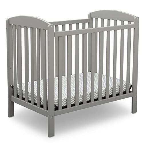 Delta Children Emery Mini Convertible Baby Crib with 2.75-inch Mattress, Grey