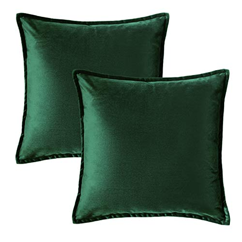 Bedsure Velvet Cushion Cover 2 Pack Dark Green Decorative Pillowcases for Sofa and Couch, 50cm x 50cm (20in x 20in)