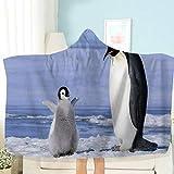 AHJJK Manta con Capucha Pingüino, Madre y bebé Manta portátil súper Suave Impresa en 3D Adecuada para Adultos y niños en Viajes/Camping/Almuerzo/sofá Cama 78.7 x 59 Inch