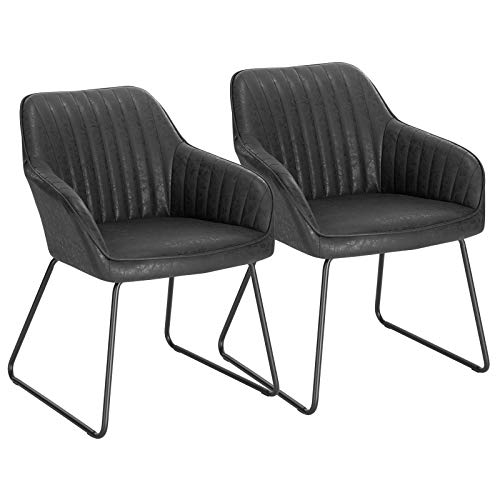 WOLTU Esszimmerstühle BH140sz-2 3er Set Küchenstuhl Polsterstuhl Wohnzimmerstuhl Sessel mit Armlehne, Sitzfläche aus Kunstleder, Metallbeine, Antiklederoptik, Schwarz
