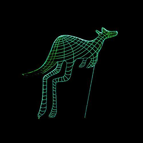 Känguru-Schwarzbasis für Tiere und Pflanzen 3D LED Night Light,Children's Mood Light, Bedside Lamp, 7 Changing Colours, Touch Switch Desk Lamps, Birthday/Christmas Gift