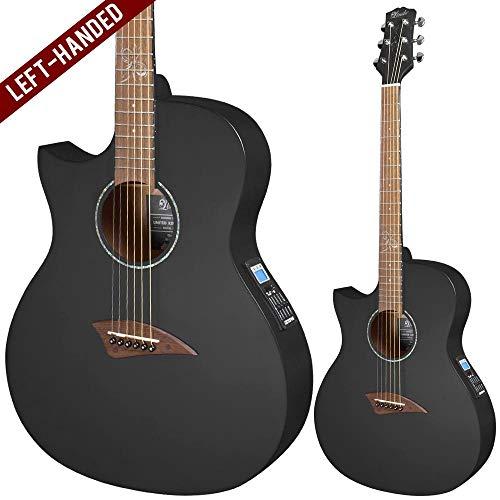 Lindo ORG-SL Slanke elektrische akoestische linkshandigen gitaar met voorversterker en geïntegreerd stemapparaat en accessoires, zwart