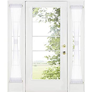 RYB HOME Sidelight Door Curtains for Front Door - White Sheer Drapes for Kitchen Window Privacy Voile for French Door Blinds with 2 Tie Backs 30-inch Wide by 72-inch Long Set of 2