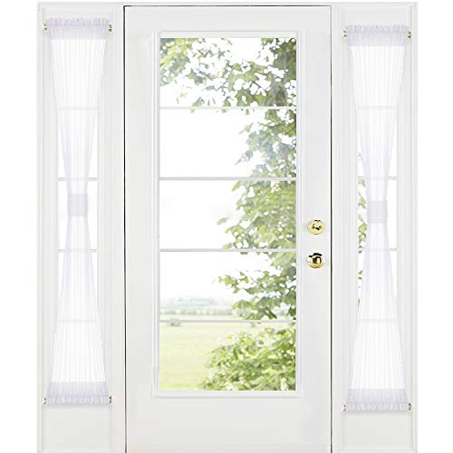 RYB HOME Sidelight Door Curtains for Front Door - White Sheer Drapes for Kitchen Window Privacy Voile for French Door Blinds with 2 Tie Backs, 30-inch Wide by 72-inch Long, Set of 2