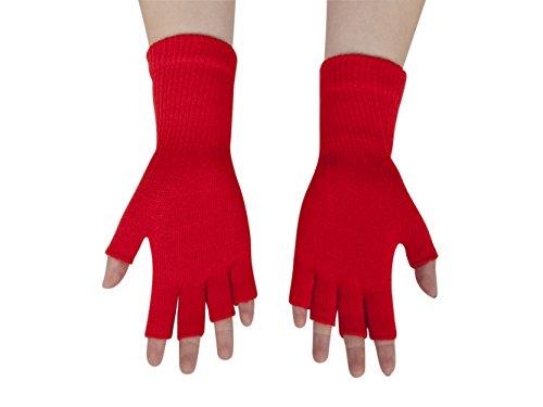 Gravity Threads Unisex Warm Half Finger Stretchy Knit Fingerless Gloves, Red