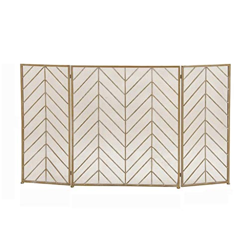 Indoor Fireplace Screen Large Gold Fireplace Screen 4 Panel Ornate Wrought Iron Black Metal Fire Place Standing Gate Decorative Mesh Solid Baby Safe Proof Fence Steel Spark Guard Cover Outdoor Tools A
