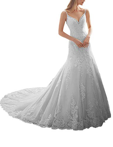 HUINI Brautkleider Spitze Lang mit Spaghettiträger Hochzeitskleider Abendkleider Trompete Rückenfrei mit Schleppe Weiß 46