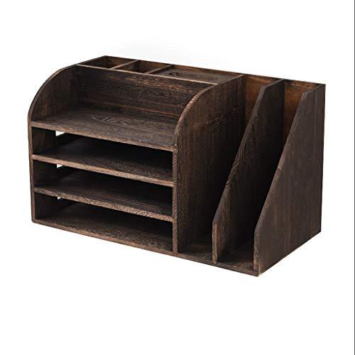 XIAOQIU Estantería para Libros Wood Desktop Bookshelf Desk Organizer Mostrar estantería Multifuncional Pluma Titular Caja Inicio Oficina Suministros Suministros Rack Estante de Escritorio