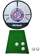 Juego de entrenamiento de golf, ayuda para entrenamiento de golf con alfombrillas de golf, red de conducción de golf, red de golf Elite Chipping Net Set de red portátil para conducción en interiores