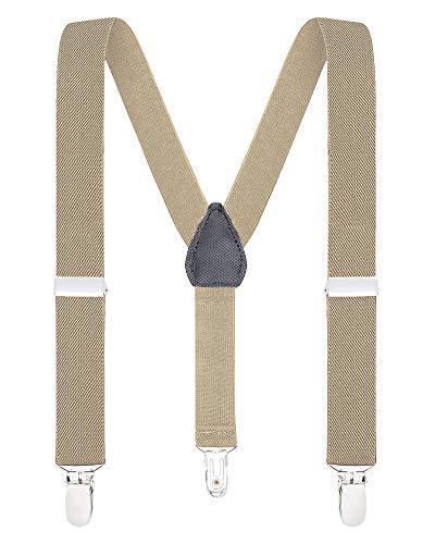 Buyless Fashion Pantaloni Con Bretelle di Sostegno a Y Posteriore da Bambino e Bebè 2,5 cm Regolabili ed Elastici– Con Ganci Forti e Resistenti-5102 Clr.: Tan | Dim.: 76 cm (8 Anni - 150 cm)
