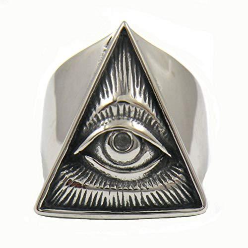 Herren Edelstahl Biker Ring Schädel-Silber-Farben-Freimaurer Illuminati Dreieck Masonic Ringe Punk Freimaurerischen Schmuck,8