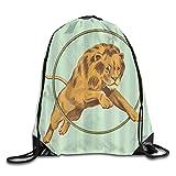 MOBEITI Sacs à dos à cordon Sacs de sport à cordes,Lion sautant à...