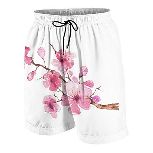 MAYBELOST Pantalones Cortos de Playa para Hombre,Acuarela Sakura Japonés Sakura Flores Blo,Trajes de baño de Secado rápido Trajes de baño con Forro de Malla y Bolsillos