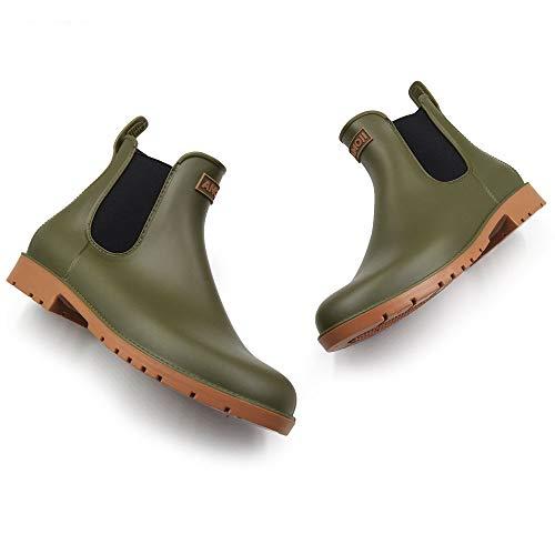 [アモジ]レインブーツレインシューズチェルシーシューズチェルシーブーツショートブーツ長靴ながぐつサイドゴアレインブーツ雨靴防水メンズレディースレディースCB919グリーン22.0cm