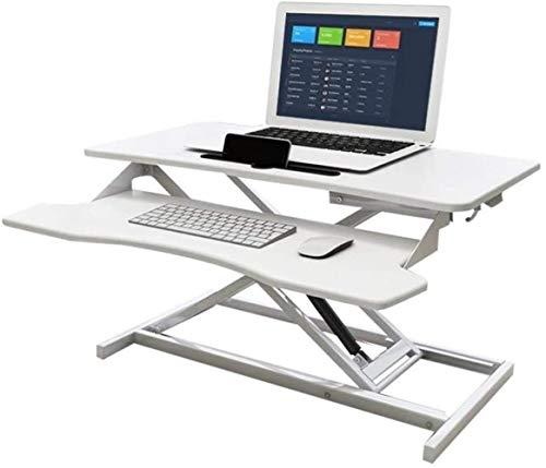 JIADUOBAO Escritorio de pie ajustable – Elevador ergonómico para estación de trabajo de escritorio, para pantallas duales, 40 x 80 x 51 cm (color: blanco)