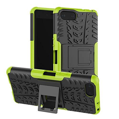 Dmtrab Para Sony Xperia XZ4 Caja compacta, Textura de neumáticos TPU + PC Cubierta Protectora a Prueba de Golpes con Titular (Negro) Cajas de teléfono móvil (Color : Green)