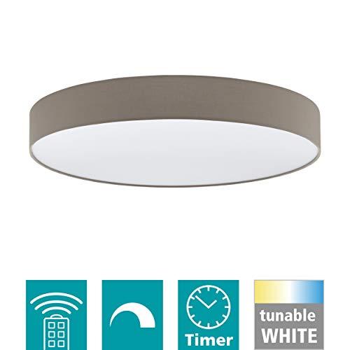 EGLO LED Deckenleuchte Romao 3, 1 flammige Deckenlampe aus Stahl, Kunststoff, Textil in taupe, weiß, mit Fernbedienung, Farbtemperaturwechsel (warm, neutral, kalt), Nachtlicht, dimmbar, Ø 76 cm