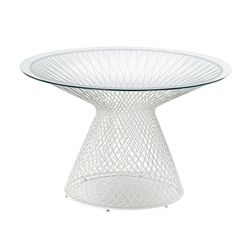 emu Heaven tuintafel Ø120cm, wit transparant tafelpalletje glas transparant H 75cm, Ø120cm frame staal wit