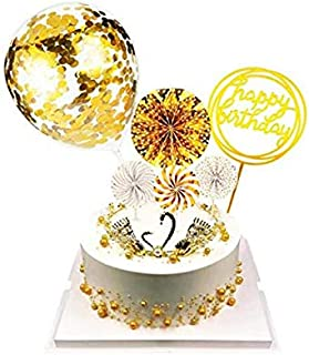 6 Pieces Gold Happy Birthday Cake Topper Acrylic Cupcake Topper Confetti Balloon Cake Topper Fan Cupcake Toppers Birthday Cake Decoration Supplies