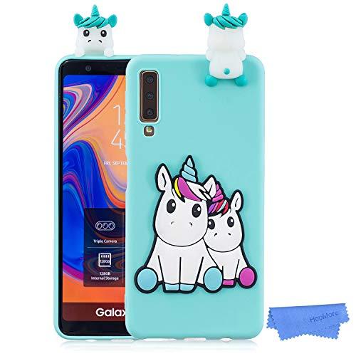 HopMore Handy Hülle für Samsung Galaxy A7 2018 Hülle Silikon Muster 3D Handyhülle für Samsung A7 2018 Ultra Dünn Bumper Design Slim Schutzhülle One Piece Case Cover - Einhorn