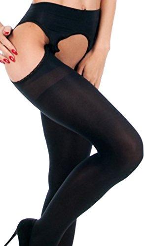 Unbekannt Strippanty Strip Panty Strapsstrumpfhose Strumpfhose offen transparent oder blickdicht (schwarz 60 den)