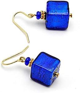 SunTradition - Pendientes con forma de cubo de azul cobalto de cristal de Murano