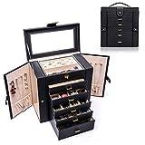 ジュエリーボックス ミラー付き大容量 ジュエリー収納 宝石箱 (ブラック)
