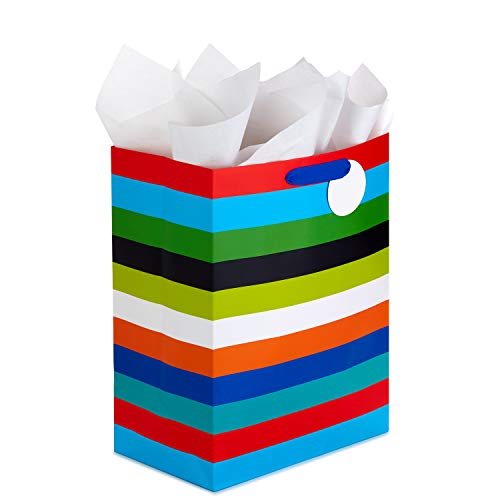 Hallmark 17' Extra Large Gift Bag with Tissue Paper (Rainbow Stripes) for Birthdays, Graduations, Baby Showers, Father's Day