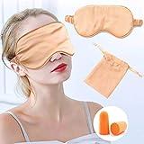 IYOU Máscara de Seda Mujer Dormir Seda Morera Satinada Opaca Viajes Siesta Meditación Máscara Ojos Tapón para la Oreja para Sormir por la Noche Viaje Siesta