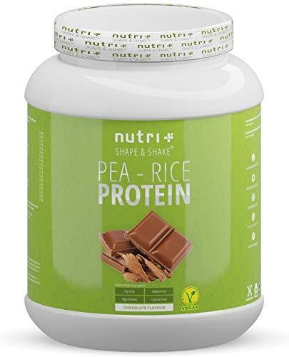 Nutri-Plus Erbsen-Reis-Protein Schoko - Veganes Eiweißpulver ohne Soja, Gluten, Laktose, Zucker - Schokolade 1kg - Hypoallergen - Eiweiß Vegan mit Erbsenprotein aus Deutschland