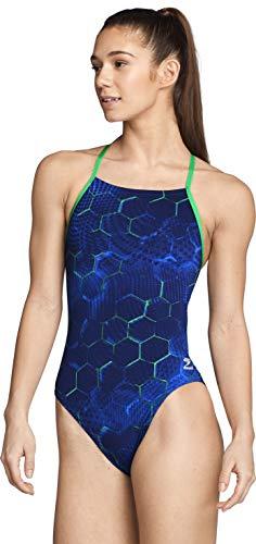 Speedo Women's Swimsuit One Piece Endurance+ Cross Back Printed Adult Team Colors, Emerging Blue/Green, 34