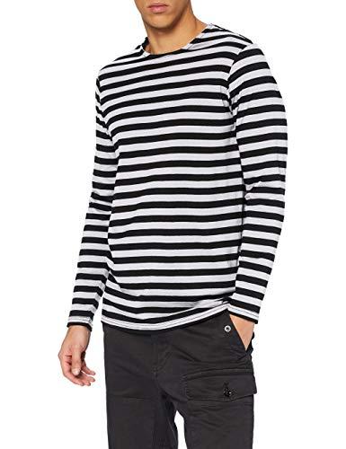 Urban Classics Regular Stripe LS Camiseta, Negro/Blanco, XXL para Hombre