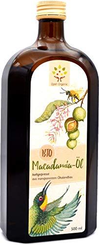 Bio-Macadamiaöl (500ml) kaltgepresst im Schwarzwald aus Macadamianusskernen aus kleinbäuerlicher Bio-Landwirtschaft am Mount Kenya
